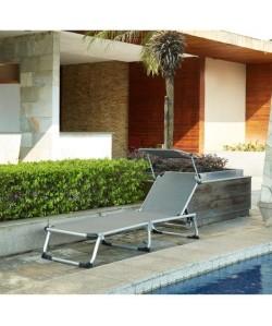 BEAU RIVAGE Chaise longue et paresoleil Bikini en aluminium  Gris