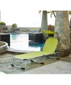 BEAU RIVAGE Chaise longue et paresoleil Bikini en aluminium  Vert