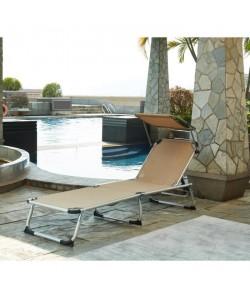 BEAU RIVAGE Chaise longue et paresoleil Bikini en aluminium  Taupe