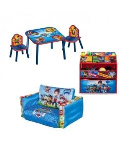PAT PATROUILLE Pack Chambre Enfant avec Meuble de Rangement, Table, Chaises et Canapé Gonflable