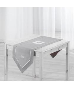 Chemin de table brodé Amandine 40x150 cm gris
