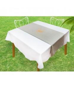 SOLEIL D\'OCRE Chemin de table Baguette  40x140 cm  Gris et or