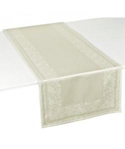 VENT DU SUD Chemin de table TRENTO  47x150 cm  Blanc lin