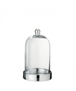 Cloche verre déco 18x18x30 cm Argent et Transparent