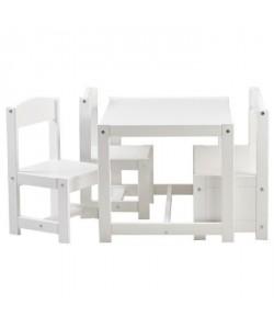 HOPPEKIDS Ensemble table et chaises contemporain en bois pin massif et MDF laqué blanc  L 59 x l 50 cm