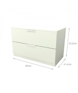 BILLUND Commode style contemporain  Décor blanc  L 80 cm