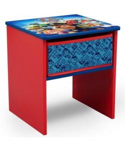 PAT PATROUILLE  Table de Chevet Enfant en Bois avec tiroirs  Rouge et Multicolore