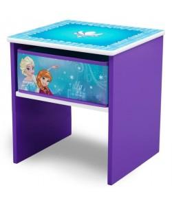 LA REINE DES NEIGES  Table de Chevet Enfant en Bois avec tiroirs  Violet et Multicolore