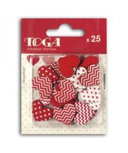 TOGA Pack de 25 Confettis Bois Coeurs  Blanc et rouge