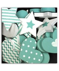 D.I.Y WITH TOGA Pack de 25 Confettis Bois Coeurs / Etoiles  Turquoise