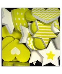 D.I.Y WITH TOGA Pack de 25 Confettis Bois Coeurs / Etoiles  Vert