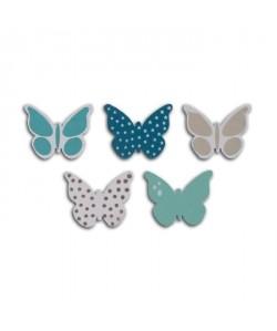 TOGA Pack de 25 Confettis Bois Papillons  Bleu et taupe