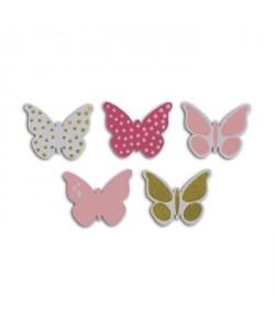 TOGA Pack de 25 Confettis Bois Papillons  Rose et vert