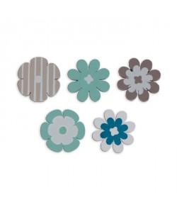 TOGA Pack de 25 Confettis Bois Fleurs  Bleu et taupe