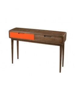 LUCIEN Console Vintage  Bois  2 tiroirs orange  L x 110