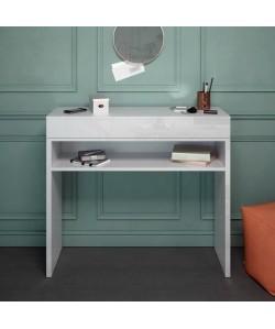 SLIDE Console style contemporain blanc brillant  L 93 cm