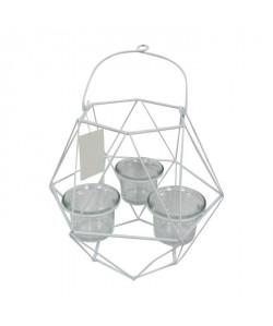 HOMEA Photophore Geometrik 20x18,75xH27 cm blanc