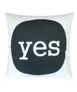 Coussin a message YES 38x38 cm blanc et noir