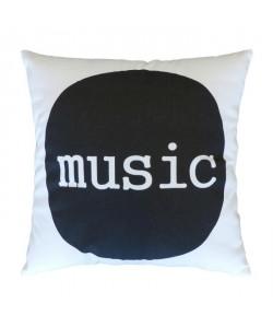 Coussin a message MUSIC 38x38 cm blanc et noir