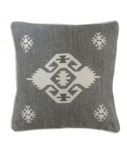 Coussin KILIM Coton 40x40 cm AZTEK gris