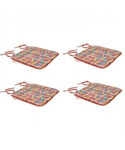 EZPELETA Set de 4 Coussins de chaises carrées Sol  40 x 40 cm  Rouge et multicolore