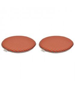 EZPELETA Set de 2 coussins de chaises rondes Sol  Ř 40 cm  Orange et gris