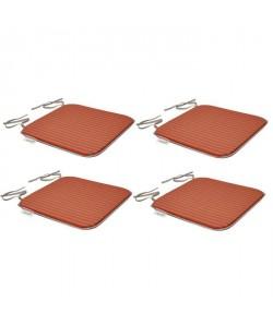 EZPELETA Set de 4 Coussins de chaises carrées Sol  40 x 40 cm  Orange et gris