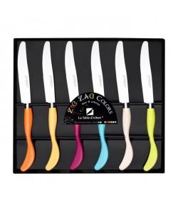 LA TABLE D\'ALBERT Set de 6 couteaux Zigzag 24 cm orange, jaune, rose, bleu, beige et vert