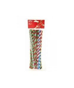 APLI Sachet 50 chenilles bicolores  Couleurs assorties  30 cm