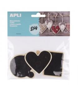 APLI Sachet de 3 mini pinces en bois ardoise  Forme : bulle, coeur et tableau