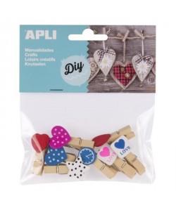 APLI Sachet de 8 mini pinces en bois  Formes et motifs assortis