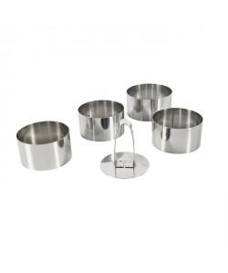 EQUINOX Lot de 4 emportes pieces  1 poussoir 8 cm gris