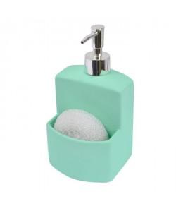 FRANDIS Flacon a pompe  porte éponge  Céramique Rubber  Bicolore Vert clair