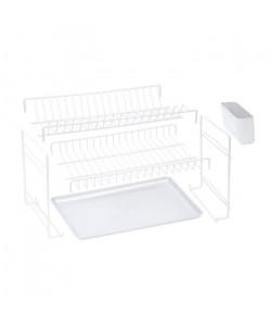 SAUVIC Égouttoir a vaisselle plastifié démontable  Blanc
