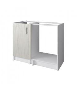 OBI Meuble bas angle de cuisine L 100 cm  Décor chene Sanremo et blanc