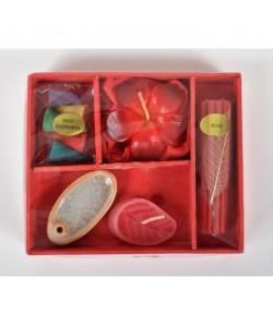 Coffret Encens cône bâtons  bougie céramique  L 13 x l 10 x H 2 cm Rouge
