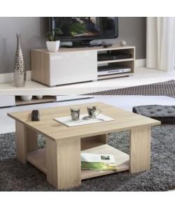 LIME Salon complet 2 pieces décor chene naturel et blanc laqué