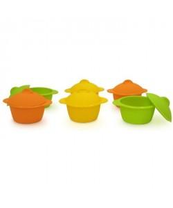 YOKO DESIGN Lot de 6 baby cocottes Ř7 cm orange, jaune et vert