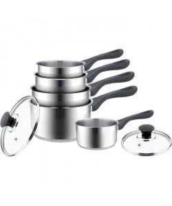 FINLANDEK Lot de 5 casseroles avec 2 couvercles  Inox