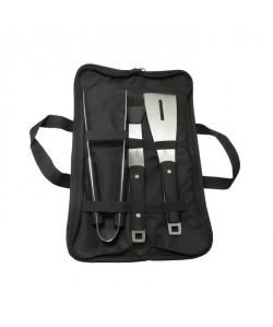 JEAN DUBOST Sacoche noire plancha : pince, pinceau et spatule  Inox