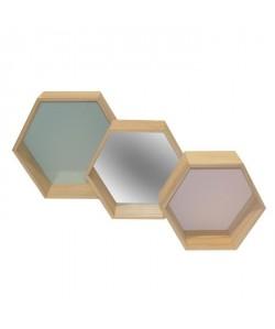 Lot de 3 étageres murales hexagonales en bois  Vert, miroir et rose