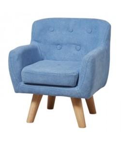 CHARLOTTE Fauteuil enfant tissu bleu  Pieds bois  Scandinave  L 42 x P 39 cm