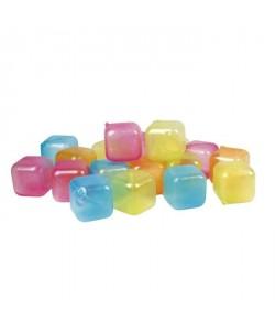 GIMEL Lot de 18 cubes glaçons réutilisables rouge, bleu, orange et vert
