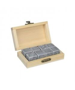 """ARD\'TIME 8 cubes a whisky en marbre\""""Whisky\"""" dans leur boite en bois"""