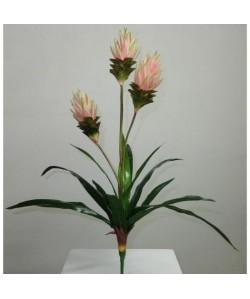 Plante exotique artificielle trois branches Fleurs Roses  Hauteur 90 cm