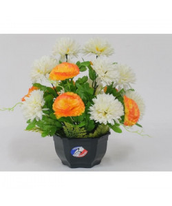 Fleur artificielle Coupe de zinnias pomponnettes  Creme / Orange