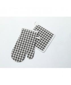 SOLEIL D\'OCRE Manique et gant de cuisine Vichy gris