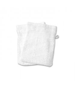 SOLEIL D\'OCRE Lot de 2 gants de toilette 100% Coton DOUCEUR 16x21 cm  Blanc