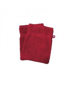 SOLEIL D\'OCRE Lot de 2 gants de toilette 100% Coton DOUCEUR 16x21 cm  Rouge