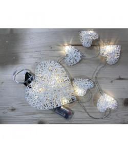 Suspension de Noël lumineuse Coeur en rotin Blanc 20 cm
